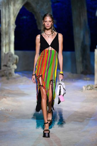 MILAN, ITALY - SEPTEMBER 25: Lexi Boling walks the runway at the Versace fashion show during the Milan Women's Fashion Week on September 25, 2020 in Milan, Italy. (Photo by Handout/Versace Press Office via Getty Images)