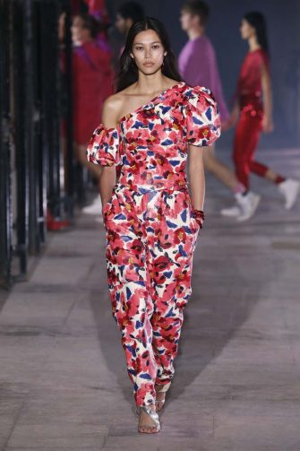PARIS, FRANCE â   OCTOBER 1: A model walks the runway during the Isabel Marant  fashion show during Paris Women's Fashion Week Spring/Summer 2021 on October 1, 2020 in Paris, France. (Photo by Estrop/Getty Images)