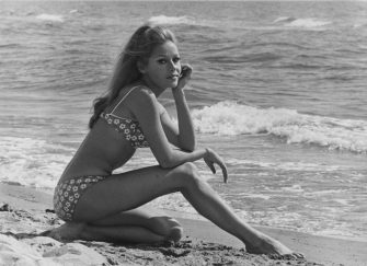 German-born actress Ira Hagen on a beach in Italy, May 1968. (Photo by Keystone Features/Hulton Archive/Getty Images)