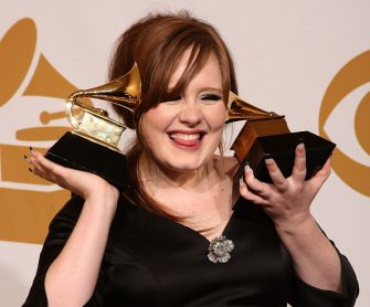 """LOS ANGELES, CA - FEBRUARY 08:  Singer Adele, winner of two awards; Best Female Pop Vocal Performance for """"Chasing Pavements"""" and Best New Artist, poses in the press room during the 51st Annual Grammy Awards held at the Staples Center on February 8, 2009 in Los Angeles, California.  (Photo by Jason Merritt/Getty Images)"""