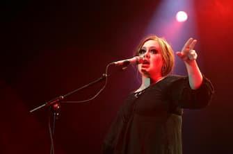 AMSTERDAM, NETHERLANDS - APRIL 17:  Adele performs live in concert at the Heineken Music Hall on April 17, 2009 in Amsterdam, Netherlands.  (Photo by Greetsia Tent/WireImage)