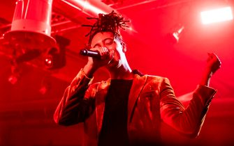 """MILAN, ITALY - SEPTEMBER 23: Italian rapper Ghali performs at """"Ysl Beauty Club Milan"""" during Milan Fashion Week Spring/Summer 2019 on September 23, 2018 in Milan, Italy.  (Photo by Rosdiana Ciaravolo/Getty Images)"""
