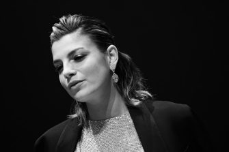 MILAN, ITALY - NOVEMBER 23: (EDITORS NOTE: This image has been converted in black and white) Emma Marrone attends the Vanity Fair Stories 2019 Awards Photocall at The Space Cinema Odeon on November 23, 2019 in Milan, Italy. (Photo by Vittorio Zunino Celotto/Getty Images)