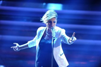 SAN REMO, ITALY - FEBRUARY 15:  Singer Emma Marrone performs on stage at the second day of the 62th Sanremo Song Festival at the Ariston Theatre on February 15, 2012 in San Remo, Italy.  (Photo by Venturelli/Getty Images)