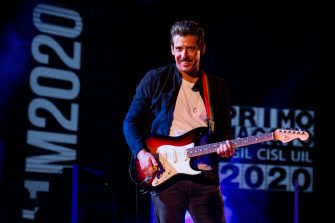 ROME, ITALY -  MAY 01: (EDITORIAL USE ONLY)  Francesco Gabbani performs in concert at Auditorium Parco Della Musica on May 1, 2020 in Rome, Italy.   (Photo by Roberto Panucci for iCompany via Getty Images)