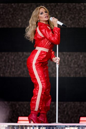 GLASTONBURY, ENGLAND - JUNE 30: Kylie Minogue performs on the Pyramid stage on day five of Glastonbury Festival at Worthy Farm, Pilton on June 30, 2019 in Glastonbury, England. (Photo by Ian Gavan/Getty Images)