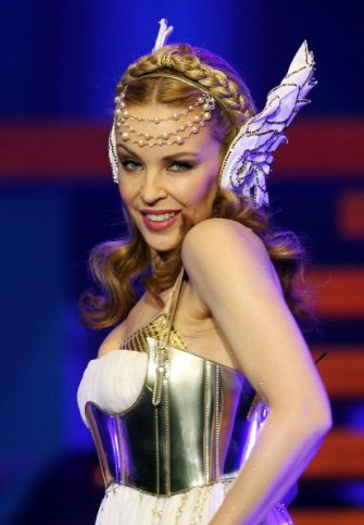 SYDNEY, AUSTRALIA - JUNE 07:  Kylie Minogue performs live on stage during her Aphrodite Les Folies tour at Sydney Entertainment Centre on June 7, 2011 in Sydney, Australia.  (Photo by Mark Metcalfe/Getty Images)