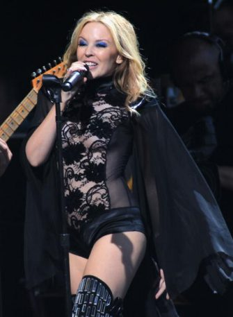 GLASTONBURY, ENGLAND - JUNE 26:  Kylie Minogue performs with the Scissor Sisters at Glastonbury Festival at Worthy Farm on June 26, 2010 in Glastonbury, England.  (Photo by Danny Martindale/WireImage)
