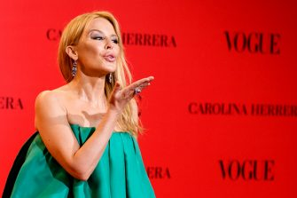 MADRID, SPAIN - JULY 12:  Kylie Minogue attends Vogue 30th Anniversary Party at Casa Velazquez on July 12, 2018 in Madrid, Spain.  (Photo by Juan Naharro Gimenez/WireImage)
