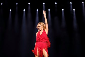 SINGAPORE - SEPTEMBER 16:  (EXCLUSIVE COVERAGE) In this handout photo provided by Singapore GP, Kylie Minogue performs on stage during day one of the Singapore Formula One Grand Prix at Marina Bay Street Circuit on September 16, 2016 in Singapore.  (Photo by Brendon Thorne/Singapore GP via Getty Images)