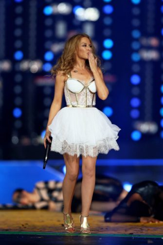 GLASGOW, SCOTLAND - AUGUST 03:  Singer Kylie Minogue performs during the Closing Ceremony for the Glasgow 2014 Commonwealth Games at Hampden Park on August 3, 2014 in Glasgow, United Kingdom.  (Photo by Cameron Spencer/Getty Images)
