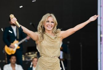 GLASTONBURY, ENGLAND - JUNE 30: Kylie Minogue performs on the Pyramid Stage on day five of Glastonbury Festival at Worthy Farm, Pilton on June 30, 2019 in Glastonbury, England. (Photo by Samir Hussein/WireImage)