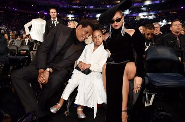 NEW YORK, NY - JANUARY 28: Recording artist Jay Z, daughter Blue Ivy Carter and recording artist Beyonce attend the 60th Annual GRAMMY Awards at Madison Square Garden on January 28, 2018 in New York City.  (Photo by Kevin Mazur/Getty Images for NARAS)