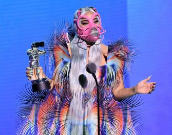 """UNSPECIFIED - AUGUST 2020: Lady Gaga accepts the Best Collaboration award for """"Rain on Me"""" with Ariana Grande onstage during the 2020 MTV Video Music Awards, broadcast on Sunday, August 30th 2020. (Photo by Kevin Winter/MTV VMAs 2020/Getty Images for MTV)"""