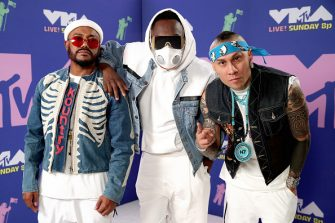 NEW YORK, NEW YORK - AUGUST 30: (L-R) apl.de.ap, will.i.am, and Taboo attend the 2020 MTV Video Music Awards, broadcast on Sunday, August 30, 2020 in New York City. (Photo by Rich Fury/MTV VMAs 2020/Getty Images for MTV)