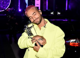 NEW YORK, NEW YORK - AUGUST 30: Maluma accepts the Best Latin award for â  Qué Penaâ   with J Balvin, during the 2020 MTV Video Music Awards broadcast at the Skyline Drive-In on Sunday, August 30, 2020 in New York City. (Photo by Jeff Kravitz/MTV VMAs 2020/Getty Images for MTV)
