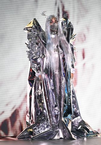 UNSPECIFIED - AUGUST 2020: Lady Gaga accepts the MTV Tricon Award onstage during the 2020 MTV Video Music Awards, broadcast on Sunday, August 30th 2020. (Photo by Kevin Winter/MTV VMAs 2020/Getty Images for MTV)