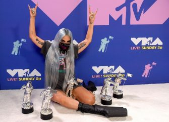 UNSPECIFIED - AUGUST 2020: (EDITORS NOTE: This image has been digitally altered.) Lady Gaga poses with her awards during the 2020 MTV Video Music Awards, broadcast on Sunday, August 30th 2020. (Photo by Kevin Winter/MTV VMAs 2020/Getty Images for MTV)