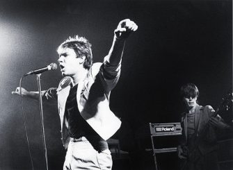 Duran Duran, Simon Le Bon, John Taylor, performing on stage, Ontmoetingscentrum, Harelbeke, Belgium, 9th September 1981. (Photo by Gie Knaeps/Getty Images)