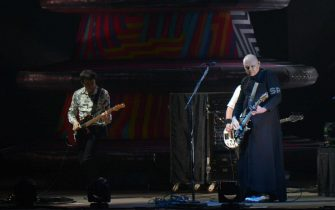 epa07702610 US band The Smashing Pumpkins performs live during the 31st Eurockeennes Festival in Belfort, France, 07 July 2019. The music festival runs from 04 to 07 July.  EPA/HUGO MARIE