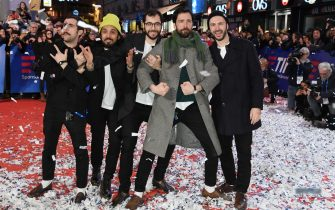 SANREMO, ITALY - FEBRUARY 04: Ex-Otago walks the red carpet of the 69. Sanremo Music Festival Preview at Teatro Ariston on February 04, 2019 in Sanremo, Italy. (Photo by Daniele Venturelli/Daniele Venturelli/Getty Images)
