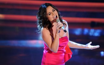 SAN REMO, ITALY - FEBRUARY 15:  Singer Chiara Civello performs on stage at the second day of the 62th Sanremo Song Festival at the Ariston Theatre on February 15, 2012 in San Remo, Italy.  (Photo by Venturelli/Getty Images)