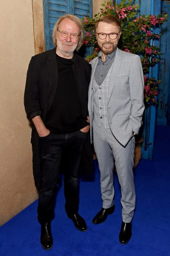LONDON, ENGLAND - SEPTEMBER 19: Benny Andersson and Bjorn Ulvaeus attend the opening night of MAMMA MIA! The Party at Building 6 at The O2 on September 19, 2019 in London, England. (Photo by David M. Benett/Dave Benett/Getty Images for Mamma Mia)