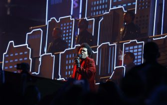 epa08995101 Canadian singer The Weeknd performs during the Halftime Show at the National Football League Super Bowl LV at Raymond James Stadium in Tampa, Florida, USA, 07 February 2021.  EPA/CJ GUNTHER