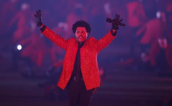 epa08995107 Canadian singer The Weeknd performs during the Halftime Show at the National Football League Super Bowl LV at Raymond James Stadium in Tampa, Florida, USA, 07 February 2021.  EPA/CJ GUNTHER