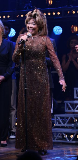 """NEW YORK, NY - NOVEMBER 07:  Tina Turner during the """"Tina - The Tina Turner Musical"""" Opening Night Curtain Call at the Lunt-Fontanne Theatre on November 07, 2019 in New York City.  (Photo by Walter McBride/WireImage)"""