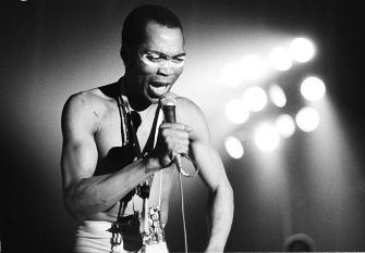 Fela Kuti performs on stage, Paris, 1981. (Photo by Michael Putland/Getty Images)
