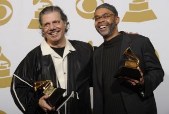 31/01/2010, Los Angeles: Chick Corea (L) and Kenny Garrett hold the Grammy for best jazz instrumental album, individual or group for 'Five Piece Band - Live' at the 52nd annual Grammy Awards at the Staples Center.