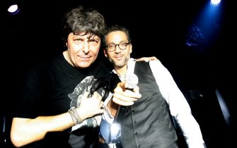 """(EXCLUSIVE, Premium Rates Apply) ROME - OCTOBER 27:  (EXCLUSIVE COVERAGE) DJ Claudio Coccoluto and actor Beppe Fiorello attend """"Galantuomini"""" party at Officine Farneto during the 3rd Rome International Film Festival on October 27, 2008 in Rome, Italy.  (Photo by Elisabetta A. Villa/WireImage)  *** Local Caption ***"""