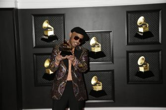 LOS ANGELES - MARCH 14:  Anderson .Paak winner Best Melodic Rap performance at THE 63rd ANNUAL GRAMMY® AWARDS, broadcast live from the STAPLES Center in Los Angeles, Sunday, March 14, 2021 (8:00-11:30 PM, live ET/5:00-8:30 PM, live PT) on the CBS Television Network and Paramount+. (Photo by Francis Specker/CBS via Getty Images)