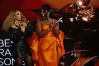 LOS ANGELES - MARCH 14: Megan Thee Stallion and Beyoncé win the award for Best Rap Song at THE 63rd ANNUAL GRAMMY® AWARDS, broadcast live from the STAPLES Center in Los Angeles, Sunday, March 14, 2021 (8:00-11:30 PM, live ET/5:00-8:30 PM, live PT) on the CBS Television Network and Paramount+. (Photo by Cliff Lipson/CBS via Getty Images)