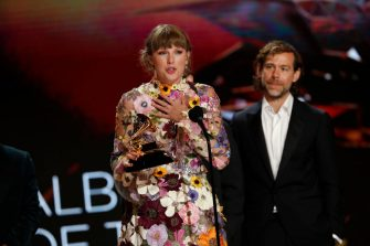 LOS ANGELES - MARCH 14: Taylor Swift wins the award for Album of the Year at THE 63rd ANNUAL GRAMMY® AWARDS, broadcast live from the STAPLES Center in Los Angeles, Sunday, March 14, 2021 (8:00-11:30 PM, live ET/5:00-8:30 PM, live PT) on the CBS Television Network and Paramount+. (Photo by Cliff Lipson/CBS via Getty Images)