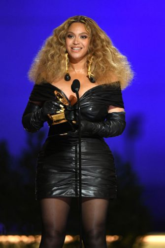 LOS ANGELES, CALIFORNIA - MARCH 14: Beyoncé accepts the Best R&B Performance award for 'Black Parade' onstage during the 63rd Annual GRAMMY Awards at Los Angeles Convention Center on March 14, 2021 in Los Angeles, California. (Photo by Kevin Winter/Getty Images for The Recording Academy)
