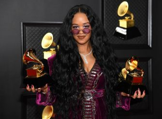 LOS ANGELES, CALIFORNIA - MARCH 14: H.E.R., winner of the Best R&B Song award for â  Better Than I Imaginedâ   and the Song of the Year award for 'I Can't Breathe,â   poses in the media room during the 63rd Annual GRAMMY Awards at Los Angeles Convention Center on March 14, 2021 in Los Angeles, California. (Photo by Kevin Mazur/Getty Images for The Recording Academy )