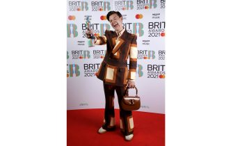 LONDON, ENGLAND - MAY 11: Harry Styles wins the Mastercard British Single award for Watermelon Sugar during The BRIT Awards 2021 at The O2 Arena on May 11, 2021 in London, England. (Photo by JMEnternational/JMEnternational for BRIT Awards/Getty Images)