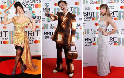 Brit Awards 2021, i migliori look: da Harry Styles a Dua Lipa. FOTO