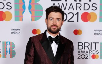 epa09192232 A handout photo made available by the Brit Awards shows Jack Whitehall at the Brit Awards 2021 at the O2 Arena in Greenwich, Greater London, Britain, 11 May 2021. It is the 41st edition of the British Phonographic Industry's annual pop music awards.  EPA/JOHN MARSHALL / HANDOUT NO TV / NO USE AFTER 08 JUNE 2021 / MANDATORY CREDIT: JOHN MARSHALL HANDOUT EDITORIAL USE ONLY/NO SALES/NO ARCHIVES
