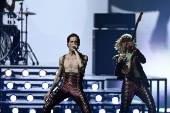"""21 May 2021, Netherlands, Rotterdam: The band """"Maneskin"""" (Italy) will perform the song """"Zitti E Buoni"""" at the Jury Final of the Eurovision Song Contest (ESC) in the Ahoy Arena. Photo: Soeren Stache/dpa-Zentralbild/dpa (Photo by Soeren Stache/picture alliance via Getty Images)"""