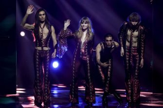 Italy's Maneskin arrive on stage during the final of the 65th edition of the Eurovision Song Contest 2021, at the Ahoy convention centre in Rotterdam, on May 22, 2021. (Photo by KENZO TRIBOUILLARD / AFP) (Photo by KENZO TRIBOUILLARD/AFP via Getty Images)