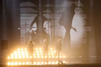 Italy's Maneskin performs during the final of the 65th edition of the Eurovision Song Contest 2021, at the Ahoy convention centre in Rotterdam, on May 22, 2021. (Photo by Kenzo Tribouillard / AFP) (Photo by KENZO TRIBOUILLARD/AFP via Getty Images)