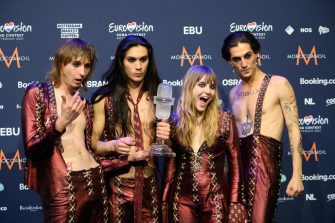 """23 May 2021, Netherlands, Rotterdam: Guitarist Thomas (l-r), guitarist Ethan, bassist Victoria and singer Damiano and from the band """"Maneskin"""" (Italy) rejoice after winning the Eurovision Song Contest (ESC) during a photocall. Photo: Soeren Stache/dpa-Zentralbild/dpa (Photo by Soeren Stache/picture alliance via Getty Images)"""