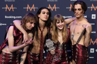 ROTTERDAM, NETHERLANDS - MAY 23, 2021: Thomas Raggi, Ethan Torchio, Victoria De Angelis, Damiano David (L-R) of the Maneskin rock band representing Italy, the winners of the 2021 Eurovision Song Contest Final, during a news conference at the Rotterdam Ahoy Arena. Vyacheslav Prokofyev/TASS (Photo by Vyacheslav Prokofyev\TASS via Getty Images)