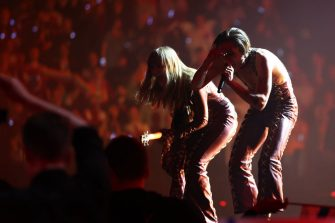 ROTTERDAM, NETHERLANDS - MAY 22: (L-R) Victoria De Angelis and Damiano David of MÃ¥neskin from Italy perform the winning song â  Zitti e buoniâ   (Shut Up And Be Quiet) during the 65th Eurovision Song Contest grand final held at Rotterdam Ahoy on May 22, 2021 in Rotterdam, Netherlands. (Photo by Dean Mouhtaropoulos/Getty Images)