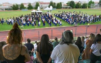 Funerali di Michele Merlo, il cantante morto il 6 giugno scorso. Stadio calcio di Rosa , Vicenza, 18 Giugno 2021. ANSA/NICOLA FOSSELLA