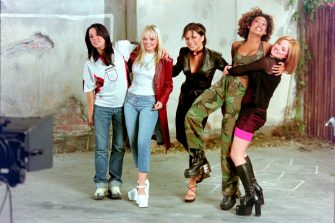 """The Spice Girls record the video for the single """"(How Does It Feel to Be) On Top of the World"""", England's official song for the 1998 Fifa World Cup, London, 1998 (Photo by Dave Hogan/Getty Images)"""