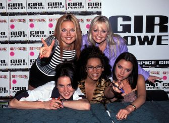 Victoria Beckham, Geri Halliwell, Melanie Brown, Emma Bunton, and Melanie Chisholm of the Spice Girls (Photo by RJ Capak/WireImage)